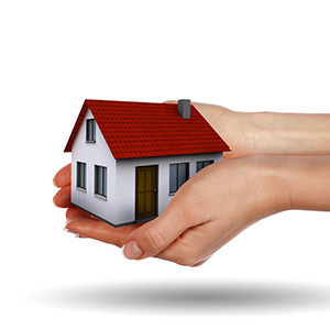 hands holding a small house