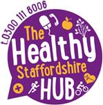 The Healthy Staffordshire Hub logo and telephone number