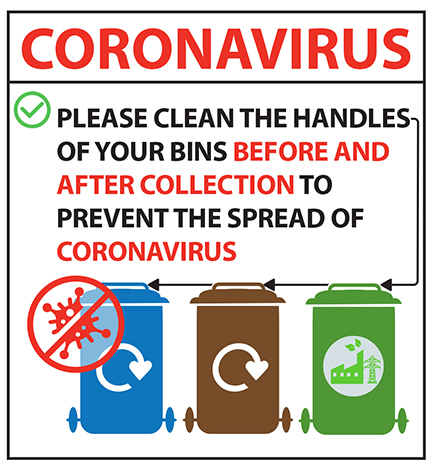 blue, brown and green wheelie bins and crossed out coronavirus germ