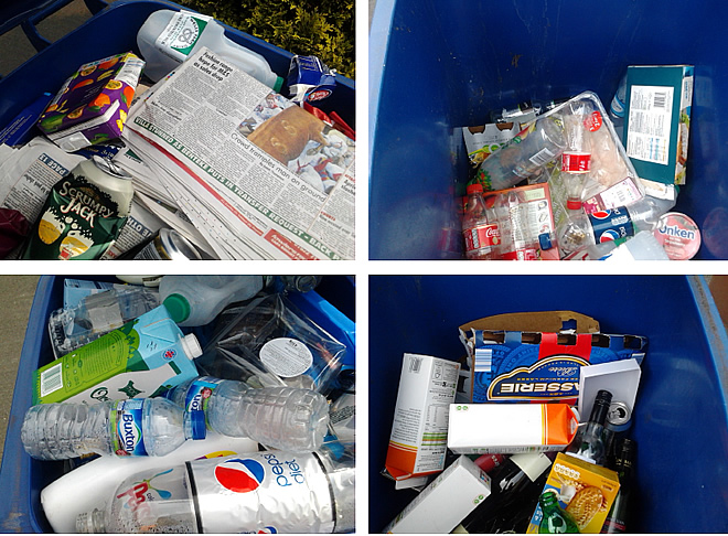recycling items-newspapers, plastic bottles, cans and cardboard