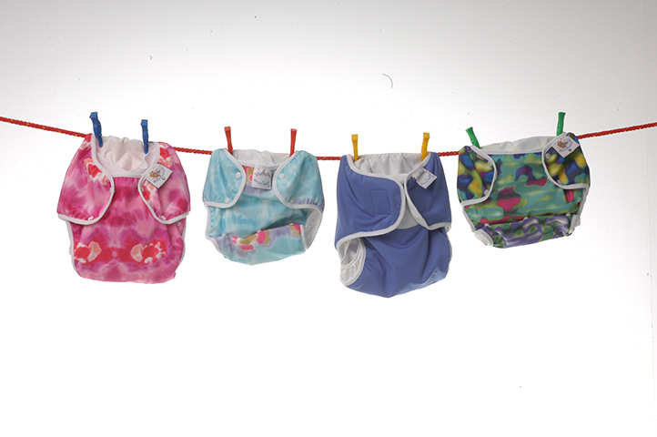 real nappies hanging on a washing line